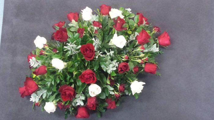 All Rose Casket Spray. Away With Flowers. Mundingburra Florist.