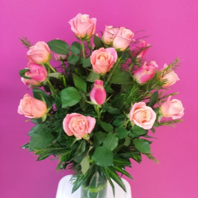 Vase of Roses. Away With Flowers. Mundingburra Florist.